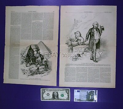EGYPT by THOMAS NAST Lot of 7 Antique Political Engravings 1884 Art Dealer Lot