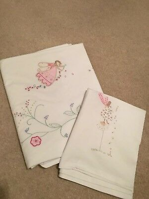 Little White Company Girls Fairies Cot Bedding, Duvet and Pillow Case