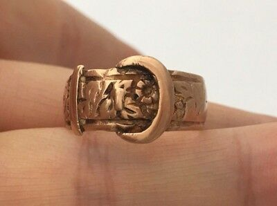 1864 Victorian 9ct Rose Gold Buckle Ring(R2522)