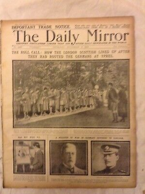 WW1,daily mirror,dec3,1914,original,London Scottish rollcall at ypres,military h