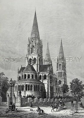 Ireland Cork Saint Fin Barre's Cathedral, Huge Double-Folio 1880s Antique Print