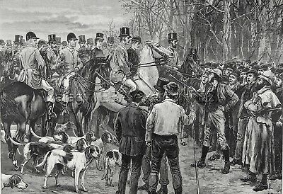 Irish History Peasants Stopping Hunt Ireland Home Rule, Huge 1880s Antique Print