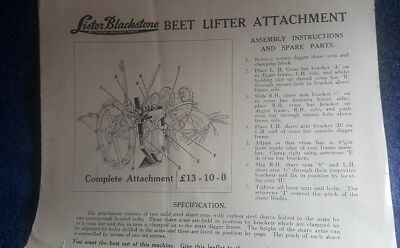 Lister Blackstone Tractor Rake Tractor Manuals & Publications Instructions And Spare Parts List 1951