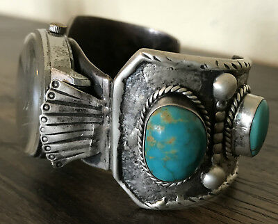 Old Pawn Native American Designer SDX Sterling & Turquoise Watch Cuff Bracelet