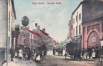 High Street, Cheadle, Staffs.Horses & Carriages/The Wheatsheaf. 1907.