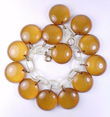 Vtg 1940s Apple Juice BAKELITE Dangle Bead Charm Bracelet Simi Tested