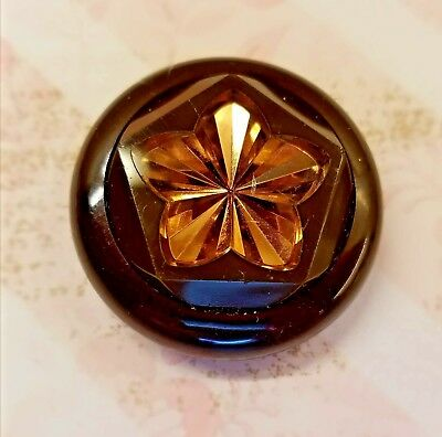 Large Vintage Bakelite Coat Button With Engraved Gold Star Under Clear Plastic