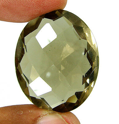 84.40 Ct Natural Beautiful Checker Oval Cut Smoky Quartz Loose Gemstone - 6230