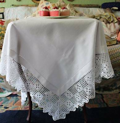 "Beautiful Antique Vintage Linen Tablecloth Filet Lace Edge Edwardian 41.5"" sq"