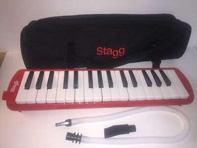 Stagg Melodica mouth blow keyboard Red with case