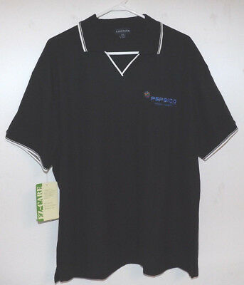 Pepsico Ladies XXL New Vee Neck Polo style Shirt. With Tags. Black