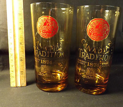 Schenley 1874 Tradition. Canadian Whiskey High Ball Glasses Great Amber Color
