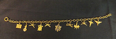 WW2 U.S. Army Brass Sweetheart Bracelet.Medical,Signal,Cavalry,Infantry, +7 More