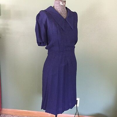 40s 50s Dress Skirt 2 Pc Set Navy Blue Vintage Outfit with 1940s Button Back Top