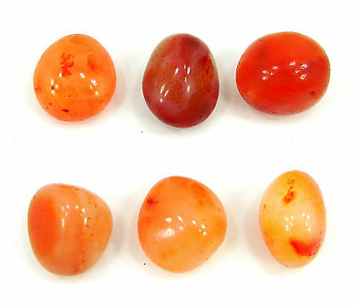 200.00 Ct Natural Orange Carnelian Loose Gemstone Tumbled Lot of 6 Pcs - 7067