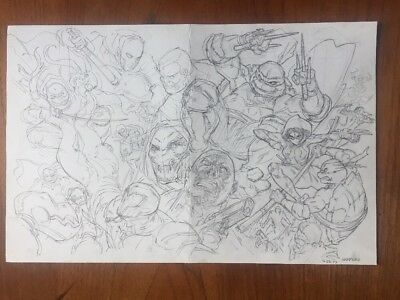 Tmnt Gang War Cover Original Pencil Art Harmon Mirage Raphael Ninja Turtles