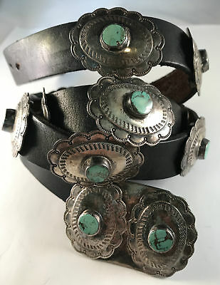 Nice Vintage Native American Concho Belt Sterling Silver & Turquoise