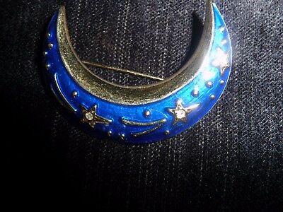 enamelled moon crescent brooch
