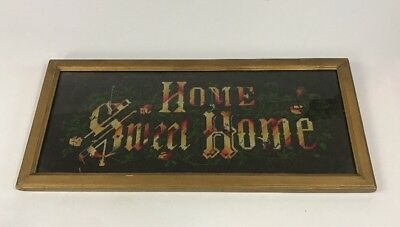 """Antique Needlepoint Embroidery """"HOME SWEET HOME"""" W/ Frame!"""