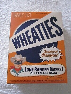 Rare 1954 General Mills Wheaties The Lone Ranger Mask Cereal Box Near Mint