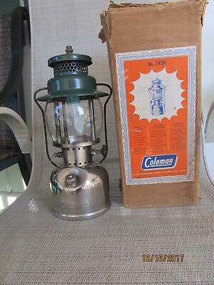 Vintage Coleman 242B Camping Lantern -Chrome Font-Dated 4-48 With Original Box