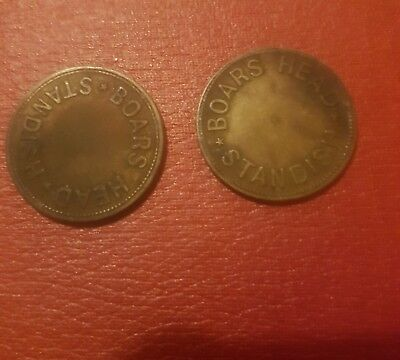 old pub tokens - BOARS HEAD STANDISH 2 different tokens     (ref 8)