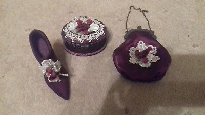 Collectors Item - Satin Burgundy Shoe, Handbag And Ear Ring Box