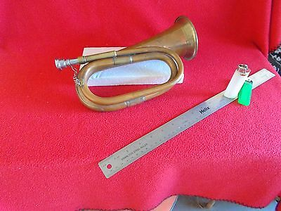 Vintage Military Copper Bugle C/w Brass Accents And Chained Mouthpiece......nic