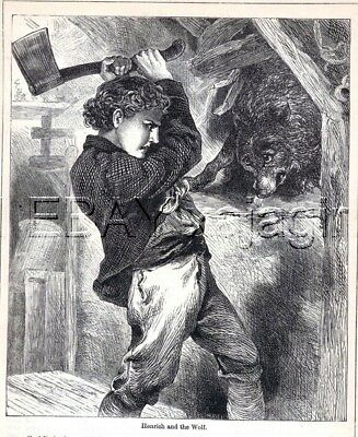 WOLF Vs. Boy with Axe, 1890s Woodcut Print & Story