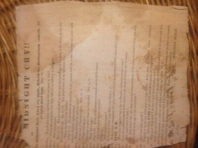 Midnight Cry Broadside 1842 Augustus Beach Millerite Quaker  End of World