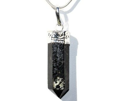 "CHARGED Starburst Flash Nuummite Crystal Perfect Pendant™ + 20"" Chain"