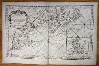 1757 Eastern North America Canada New York Boston Hampshire sea chart map Bellin