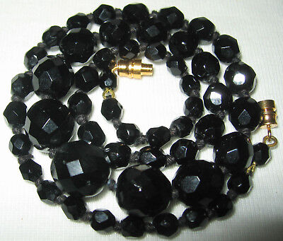 Classic Vintage 1950's /60 Black Facet Glass French Jet Beads Knotted Necklace