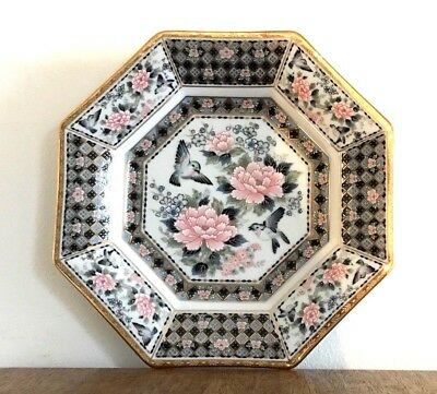 Vintage Octagonal Pink Grey Decorative Plate - Flowers and Birds - Gold Detail