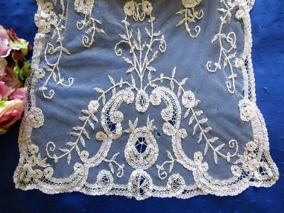 LOVELY ANTIQUE HAND MADE PRINCESS APPLIQUED NET LACE BRIDAL VEIL~STOLE~100 x 19""
