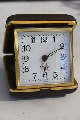 Lovely EQUITY Travel Alarm Clock - Brown case - Works a treat!!
