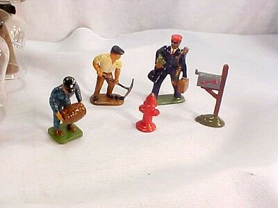 5 Vintage RR Barclay Manoil Iron Metal Figures Black Porter Miner People