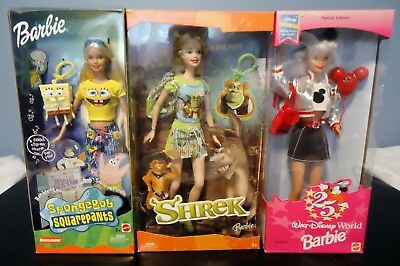 Two Disney and One Shrek Barbie, NEW IN BOXES #B2993, H1703, 16525