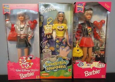 Two Disney and One SpongeBob Barbie, NEW IN BOXES
