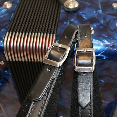 Italian black leather straps with black velour padding