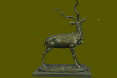 Gray Ghost Deer With Horn Stag Buck Bronze Sculpture Hand Made Figurine Hot Cast