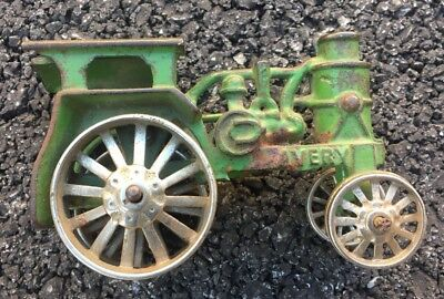 Antique Avery Cast Iron Tractor green with nickel plated wheels