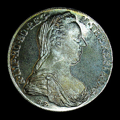 1780-S.F. Austria Thaler Restrike Large Silver Coin BU Proof Like Great Toning!!