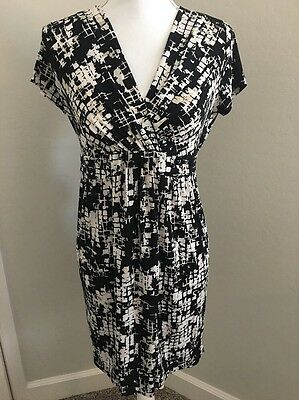 Motherhood Maternity Short Sleeve Dress Black Cream Tie Back Women's Size S