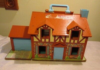Vintage 1980 Fisher Price Little People Play Family House Brown Tudor 952