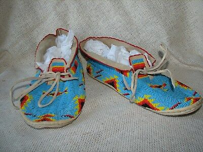 VINTAGE Native American SIOUX Leather Beaded Moccasins