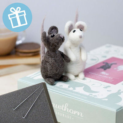 PAIR OF MICE needle felt kit boxed with foam and colour instructions