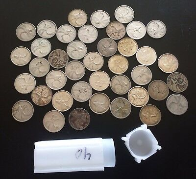 Canada 80% Silver Twenty Five Cent Coins. Canadian 25 Cents Lot With Holder Roll