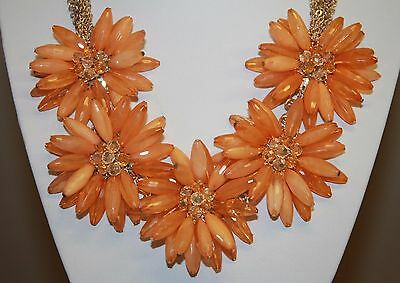 Orange Daisy Flower Cluster Collar Necklace Lucite Beads Multi Chain Gold Tone