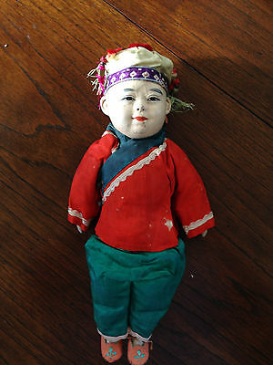 Antique Chinese Composition Little Boy Doll & Original Silk Clothing,